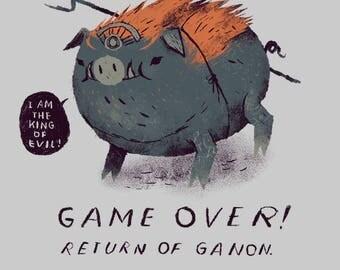 game over - return of ganon! zelda T-shirt / pig ganon shirt / the legend of zelda tee / breath of the wild botw / wii u nintendo switch /