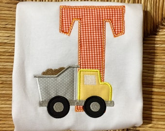 Boy clothes. Toddler/baby boy clothes. Dump truck initial shirt/outfit. Monogrammed dump truck shirt and matching pants.