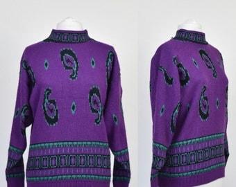 VINTAGE 80s purple jumper with green paisley design high neck size medium