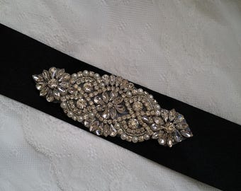 Black Bridal sash, bridal belt, crystal bridal sash, black sash belt, rhinestone sash, crystal sash, wedding dress belt, bridesmaid sash