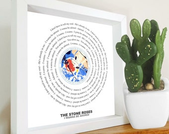 The Stone Roses - I wanna be adored - Framed Lyrics Manchester Bands - Your Song - Favourite Song - Ian Brown - Madchester - Vinyl print