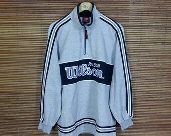 WILSON Sweatshirt Medium Gray Vintage 1990s Wilson Athletic Sportswear Usa Sports Activewear Crewneck Wilson Jumper Sweater Size M