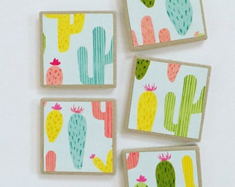"""2"""" square ceramic tile magnets, Candied Cacti"""