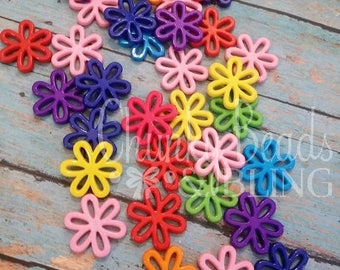 30mm 10pc Assorted Mix Pairs Flower Focal Beads