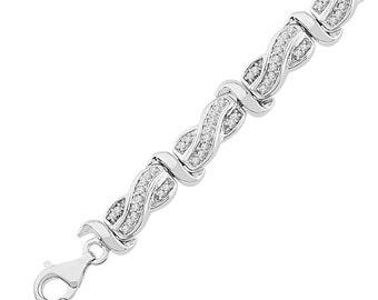 1 CT. T.W. Diamond Bracelet, Sterling Silver or White Gold Bracelet, Bridal Jewelry