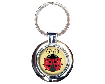 Cute Ladybug Keychain Key Ring