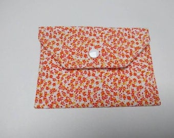 Orange fabric wallet - coin wallet  - business card holder - gift card holder - tiny orange flowers