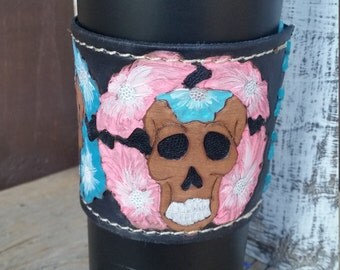 Double insulated tumbler with leather sleeve