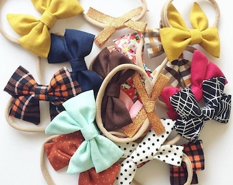 GRAB BAG of 3 Bows // Infant, Baby, Toddler Girl Hair Bow on Headband or Clip