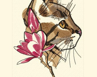 028 Cat - Machine Embroidery Design 5*7, 6*8, 8*10