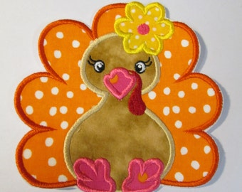 Thanksgiving Turkey - Ready to Ship FAST - Iron On or Sew On Embroidered Applique