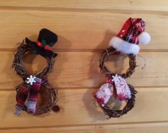 Grapevine wreath snowmen ornaments