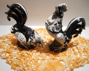 Vintage Ceramic Crowing Rooster And Hen/Black And White/French Country