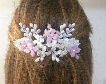 Cold porcelain leaves and flowers color Pearl bridal comb, pink and grey silver