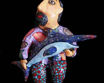 Fisherman ceramic sculpture, Gift to a fisherman, For Fisherman, Figurine of a fisherman, Sculpture fisherman, big fish