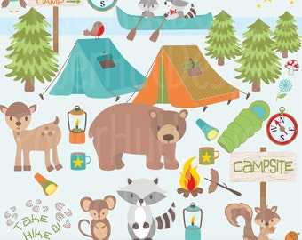 Boys Camping Clipart- Boys Camping Clip Art-Cute Forest Animals-Bear-Racoon-Mouse-Owl-Deer-Tent-Canoe-Lamp-Torch. Personal & Commercial Use.