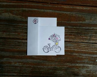 8pk Blank Notecards, White, Cruise Bicycle, Flowers. Hand Stamped, Embossed, Hand Glittered. Pretty, Gift.