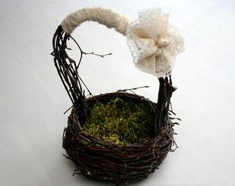 Boho WEDDING Flower girl basket WOODLAND FAIRYTALE,Rustic Countrystyle Wedding Birch tree nest basket Burlap wedding country Forever lasting