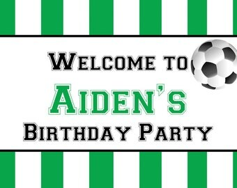 Personalized Waterproof Outdoor Soccer Ball Party Yard Sign with Ground Stake