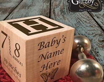 Baby's First Personalized Blocks Ornament, Wooden Baby Block, Baby Ornament, Baby's First year Gift, Baby Birth Keepsake