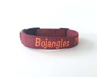 Dog Collar, Embroidered Dog Collar, Personalized Dog Collar, maroon collar