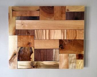Hardwood Mosaic Wood Art Accent Wall Art