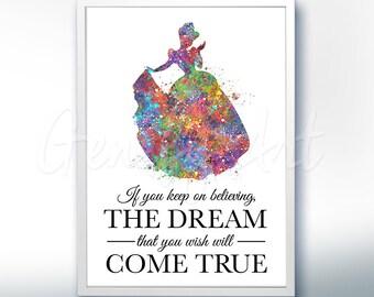 Disney Cinderella Watercolor Poster Print [4] - Motivational Quote - Watercolor Painting - Watercolor Art - Kids Decor- Nursery Decor [1]