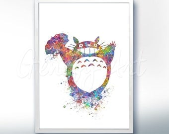 My Neighbour Totoro Studio Ghibli Watercolor Poster Print - Watercolor Painting - Watercolor Art - Home Decor - Nursery Decor [2]