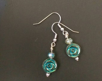 Clearance* Teal flower earrings