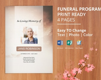 retro funeral program publisher template from godserv on etsy studio