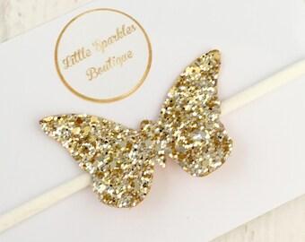 Butterfly headband, gold butterfly,gold glitter butterfly