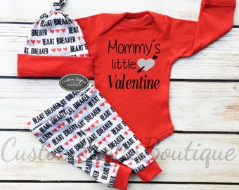 Baby Boys First Valentine's Day Outfit,My First Valentine's Day,Red And Grey Leggings & Hat With Red Cuffs,Baby Boys Coming Home Outfit
