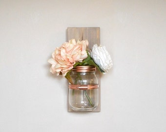 Mason Jar Wall Hanging Vase Sconce Wood Sign Mothers Day Mum Gift Idea Copper Decor Home