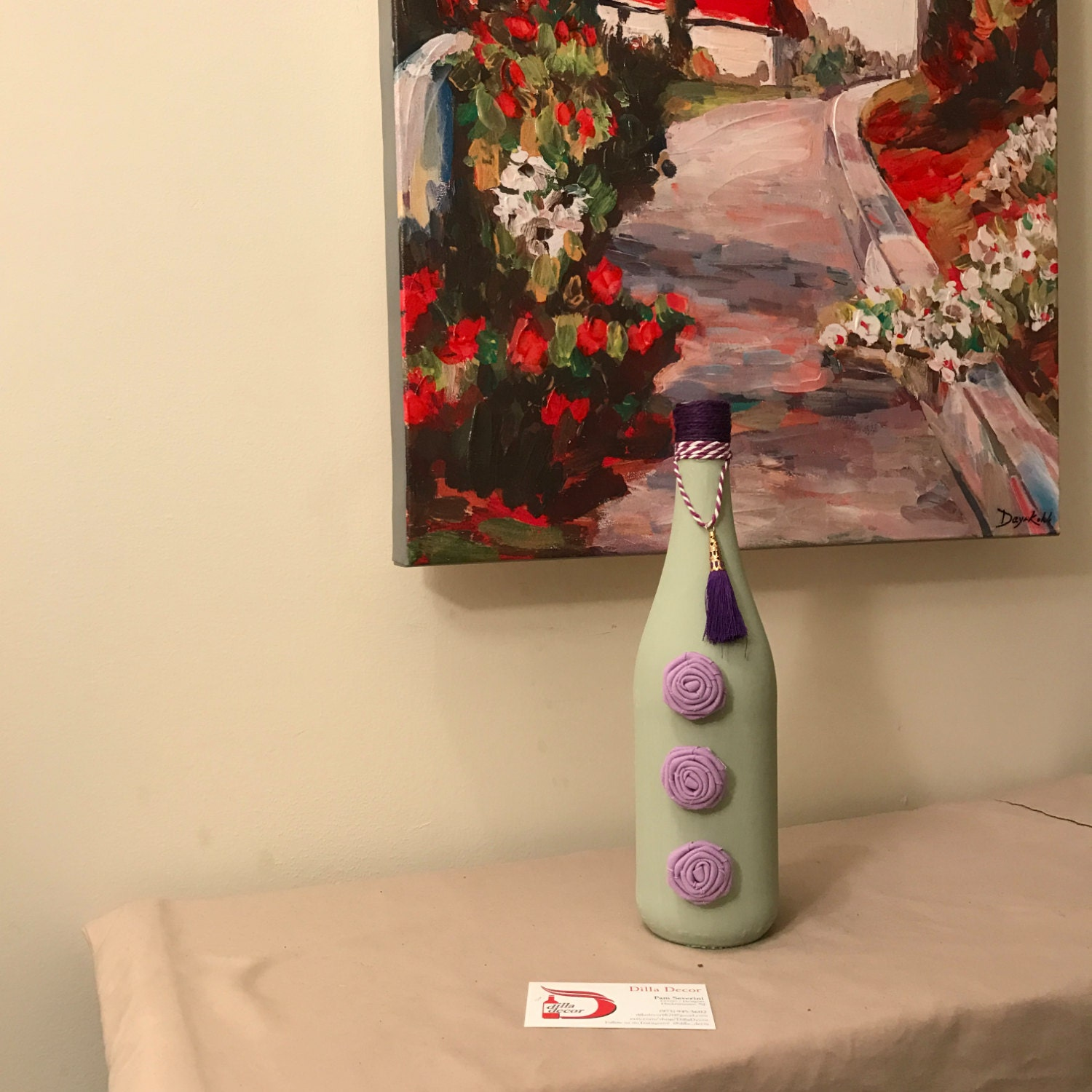 Sale light green painted wine bottle decorated with purple for Purple wine bottles for sale
