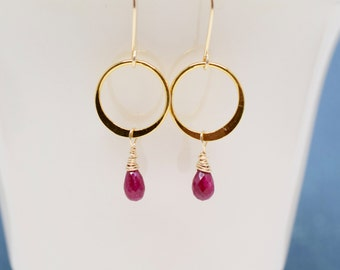 Ruby Earrings | Gold Fill | Valentines Gift | July Birthday | Christmas Earrings | Ruby Dangle Earrings | Natural Ruby Gemstone |