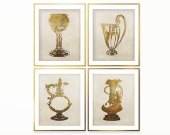 Wall Art Decor Antique Prints Set , Vase print set , housewarming set , Vintage art set , Digital Prints Set Art Deco vase Huge size prints
