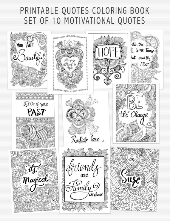 SALE Printable Quote Coloring Book Self Help Adult Coloring
