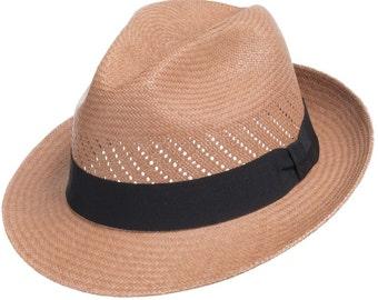 Ultrafino Trenton Straw Fedora Burnt Cedar Hat