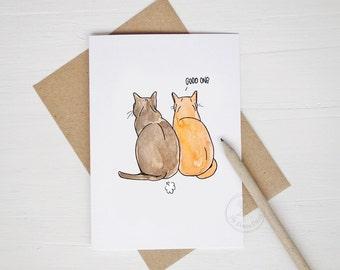 Cat Fart Greeting Card | Funny Card | Watercolor Cats | Bathroom Humor