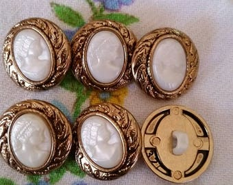 6 large cameo buttons