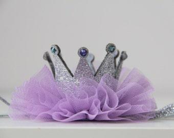 Lavender crown headband,Newborn Crown,1st Birthday Crown, Baby headbands, Newborn crown,Princess Crown Headbnad, Glitter Crown Headband.