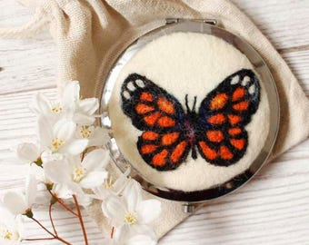 Butterfly Compact Mirror, Luxury Compact Mirror, Needle Felted Butterfly, Butterfly Wool Painting, Luxury Gift, Butterfly, Gardener Gift