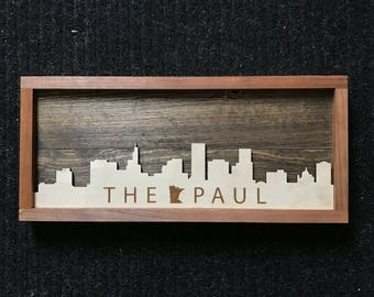 "Saint Paul Skyline Wooden Art ""THE PAUL"""