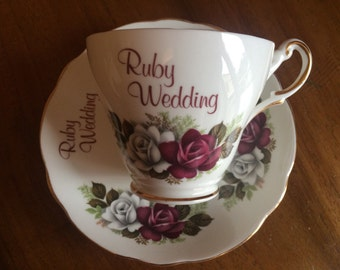 China cup and Saucer - Ruby Wedding - Vintage Ruby Regency English Bone China teacup - 40th Anniversary - Excellent condition
