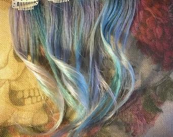 Opal, pastel rainbow 4 piece human hair clip in extension set! 100% Remy, human hair! Free shipping. Unicorn hair!