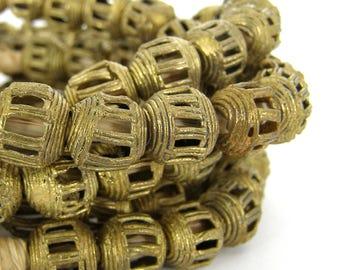Ghana Brass Beads - 12-14mm - Hollow - Open Work Brass - African Trade - Bohemian SKU-MAF12B-24