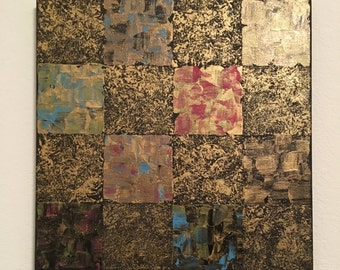"""Squares III Acrylic Painting / 12"""" x 12"""" Stretched Canvas / Brown, Blue, Pink, Gold"""