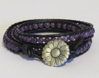 E-1712 Amethyst & black leather wrap bracelet
