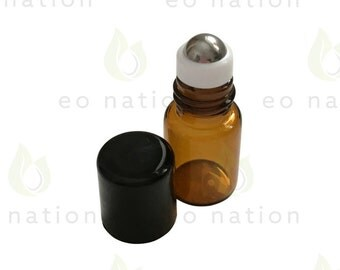 2ml Amber Rollerball Bottles with Stainless Steel Rollers