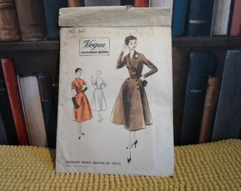Vintage  early 1950's coat dress pattern...unused.